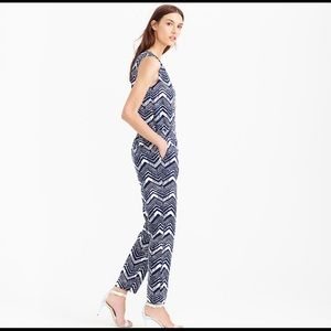 New J Crew Navy and White Zig Zag Jumpsuit Size 6